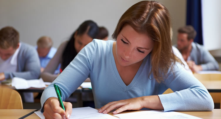 female student doing an exam