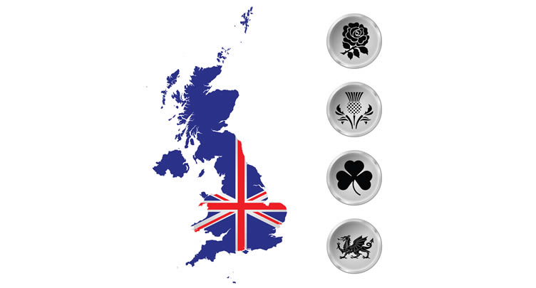 Map of UK, Union Jack, UK nation embems